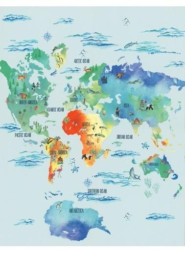 Marks & Spencer Dünya Haritası Desenli Çift Taraflı Nevresim Takımı Mavi